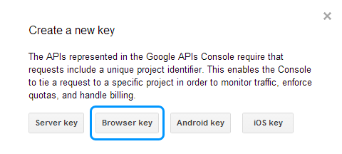 how to create a browser api key for youtube